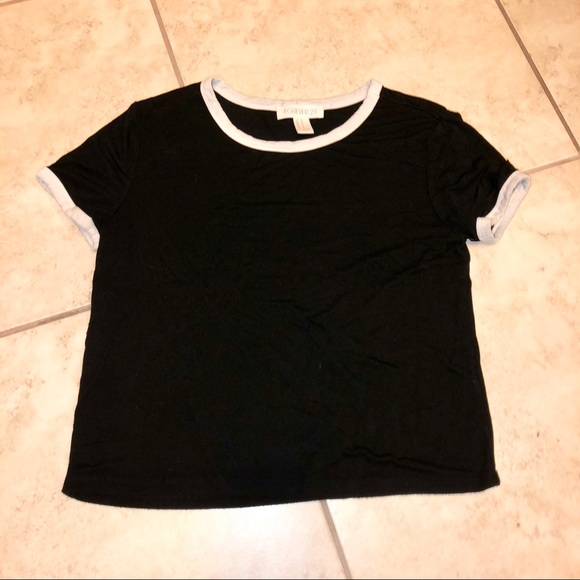 Forever 21 Tops - Black and White Lined Crop Top